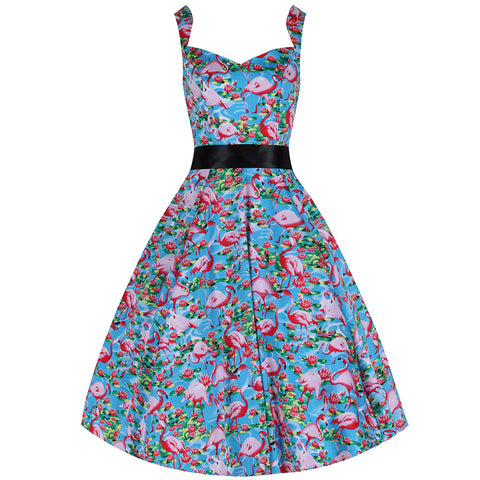 Blue and Pink Flamingo Strappy Swing Dress