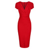 Red Deep V Cap Sleeve Bodycon Ruched Waist Wiggle Dress