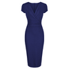 Navy Blue Deep V Cap Sleeve Bodycon Ruched Waist Wiggle Dress