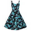 Black and Blue Floral Print Rockabilly 50s Swing Dress - Pretty Kitty Fashion