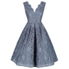 Jolie Moi Grey Blue V Neck Sleeveless Embroidered Lace 50s Swing Dress - Pretty Kitty Fashion