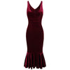 Wine Red Velour Sleeveless Peplum Hem V Neck Wiggle Dress