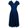Navy Blue Vintage A Line Crossover Capped Sleeve Tea Swing Dress