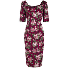Collectif Burgundy Floral Wiggle Dress - Pretty Kitty Fashion