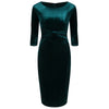 Emerald Green Gathered Bow Front Velvet 3/4 Sleeve Pencil Wiggle Dress - Pretty Kitty Fashion