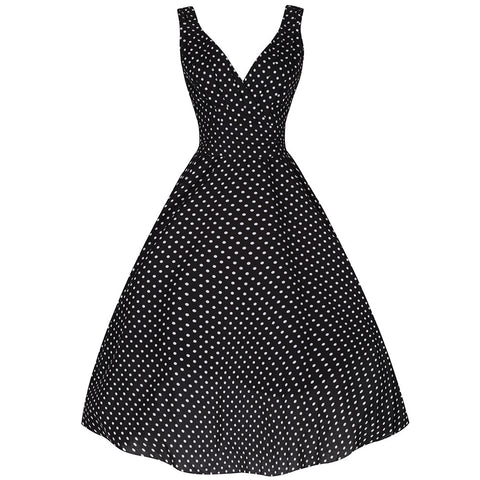 Black and White Classic Polka Dot Swing Dress