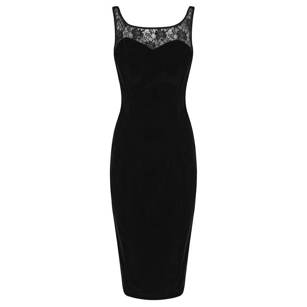 c6c17e7e23b91f Black Velour and Lace Trim Sleeveless Wiggle Pencil Dress - Pretty Kitty  Fashion
