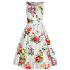 Ivory Floral Print Sleeveless Audrey 50s Swing Dress - Pretty Kitty Fashion