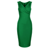 Emerald Green Sleeveless Crossover Top Bodycon Midi Dress