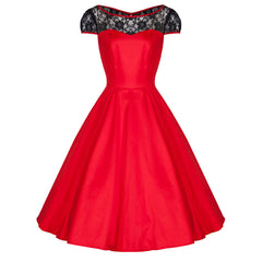 Pretty Kitty Red Lace Swing Dress