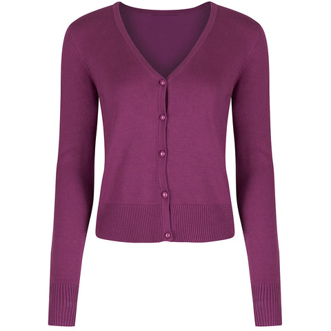 Purple Stretch V Neck Button Through Cardigan