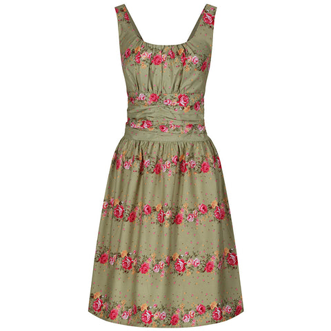 Olive Green Floral Summer Midi Dress