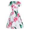 White and Pink Floral Cap Sleeve Rockabilly 50s Swing Dress - Pretty Kitty Fashion