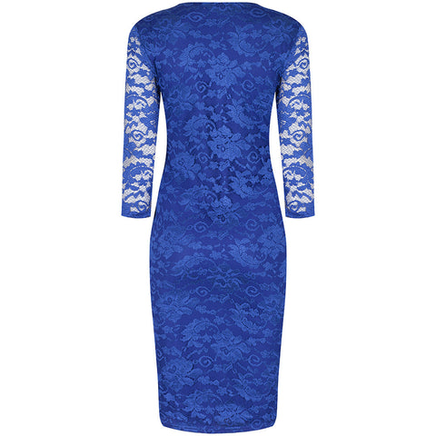 3/4 Sleeve Vintage Royal Blue Lace Bodycon Wiggle Dress - Pretty Kitty Fashion