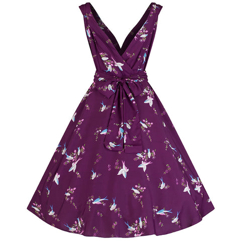 Plum Red Bird Print Swing Dress