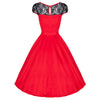 Red Cotton and Black Lace 50s Swing Dress - Pretty Kitty Fashion