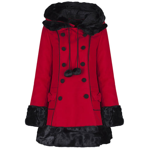 Red Faux Fur Winter Coat