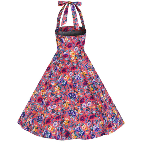Pink Multi Floral Rockabilly Swing Dress