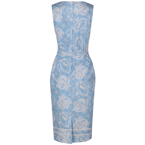 Pastel Blue and White Floral Pencil Dress