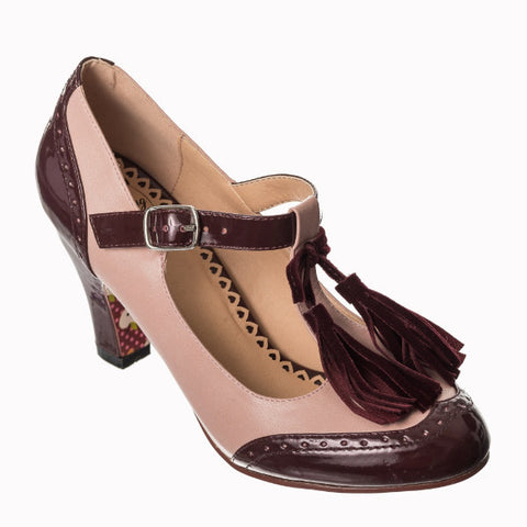 Burgundy Pink T-Bar Fringe Court Shoes