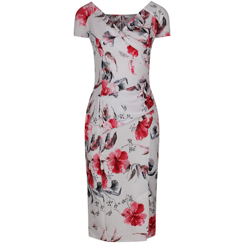White Floral Capped Sleeve Bodycon Wiggle Pencil Dress