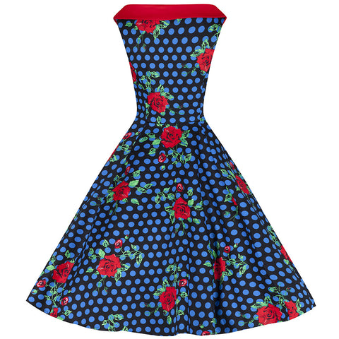 Blue Polka Dot and Rose Print Vintage Sleeveless Rockabilly Swing Dress