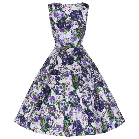 Pretty Kitty Fashion Purple Floral Abstract Print Floral Swing Dress