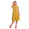 Mustard Yellow Polka Dot Fit & Flare Cap Sleeve Tea Dress