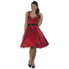 Red Satin Rockabilly 50s Swing Dress - Pretty Kitty Fashion