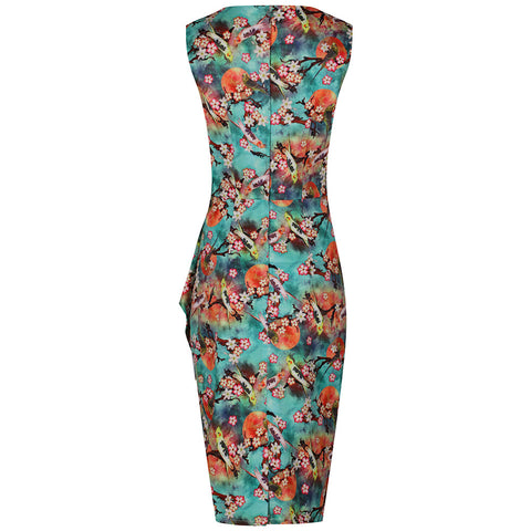 Aqua Green Multi Floral Wiggle Dress