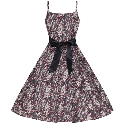 Autumn Floral Strappy Rockabilly Swing 50s Dress - Pretty Kitty Fashion