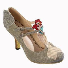 Vintage Fabric Gold Mermaid Heels