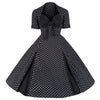 Black and White Polka Dot Retro 50s Swing Dress - Pretty Kitty Fashion