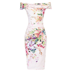 Pink Floral Bardot Wiggle Pencil Dress