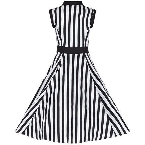Black and White Stripe Vintage Sleeveless Rockabilly Swing Dress