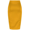 Classic Stretch Honey Yellow Pencil Bodycon Midi Office WorkSkirt - Pretty Kitty Fashion