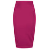 Classic Stretch Amaranth Purple Pencil Bodycon Midi Skirt - Pretty Kitty Fashion