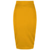 Classic Stretch Honey Yellow Pencil Bodycon Midi Skirt