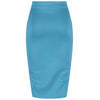 Classic Blue Stretch Pencil Bodycon Midi Office Work Skirt