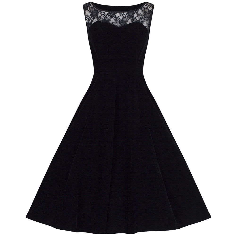 Black Velvet & Lace Rockabilly Cocktail Swing Dress - Pretty Kitty ...