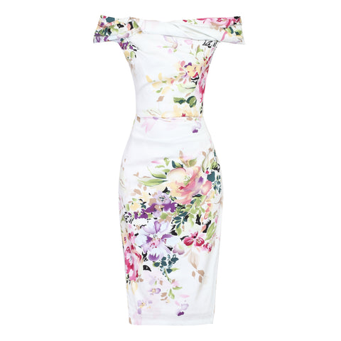 Cream White Floral Bardot Wiggle Pencil Dress