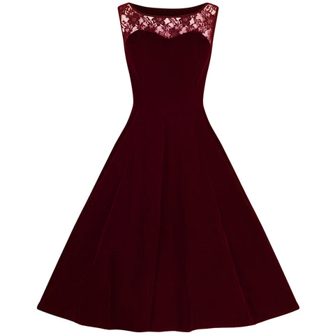 Burgundy Wine Velvet Lace Rockabilly Cocktail Swing Dress - Pretty Kitty Fashion