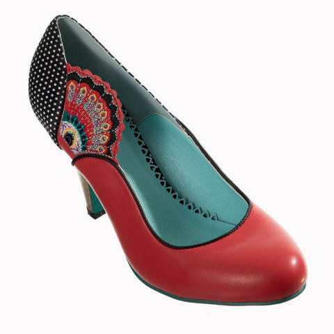 Red Peacock Fan Embroidered Court Shoe Heels