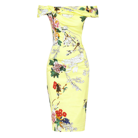 Yellow Floral Bardot Wiggle Pencil Dress