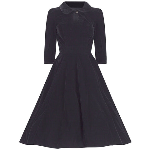 3/4 Sleeve Black Velvet Dress - Pretty Kitty Fashion