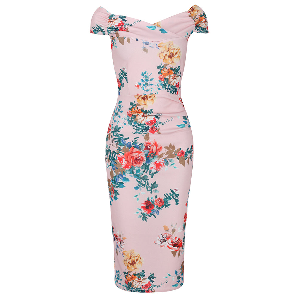 e7d9d439e8a Pink Floral Cap Sleeve Crossover Top Bardot Wiggle Dress - Pretty Kitty  Fashion