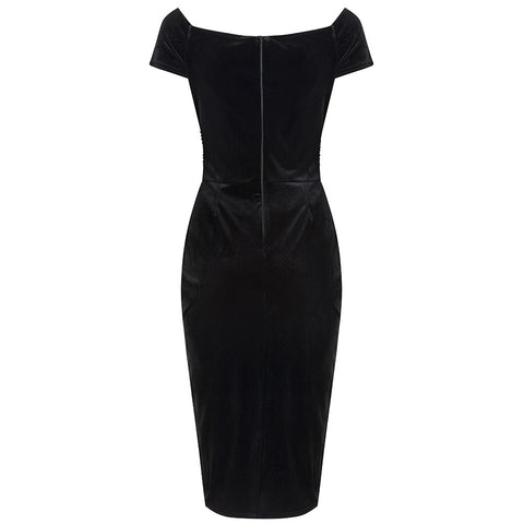 Black Velour Crossover Wiggle Dress - Pretty Kitty Fashion