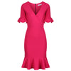 Magenta 1/2 Sleeve Fishtail Peplum Hem V Neck Bodycon Pencil Dress - Pretty Kitty Fashion
