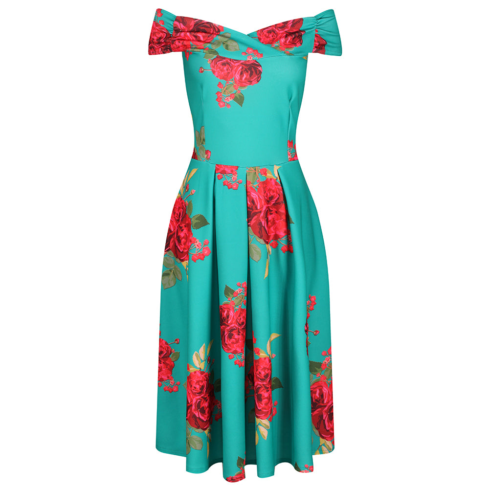 b828bf9d44a3 Green Red Rose Print Bardot 50s Bridesmaids Swing Dress