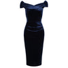 Navy Blue Velour Cap Sleeve Crossover Top Bardot Wiggle Dress - Pretty Kitty Fashion